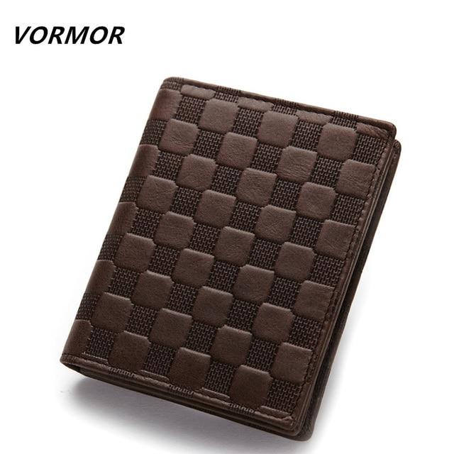 VORMOR Genuine Leather Men Wallets Fashion Purse With Card Holder Casual Short Wallet Clutch