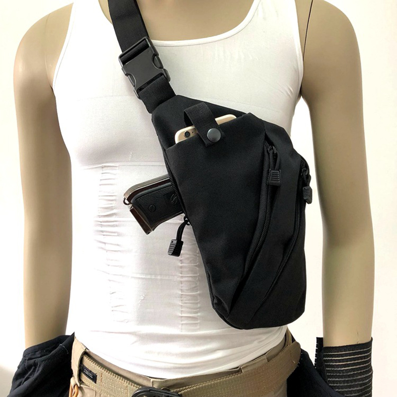 Left Right Shoulder Bag Tactical Storage Gun Bag Anti-theft Bag Chest Bag Nylon Concealed Holster Gun Carry Case