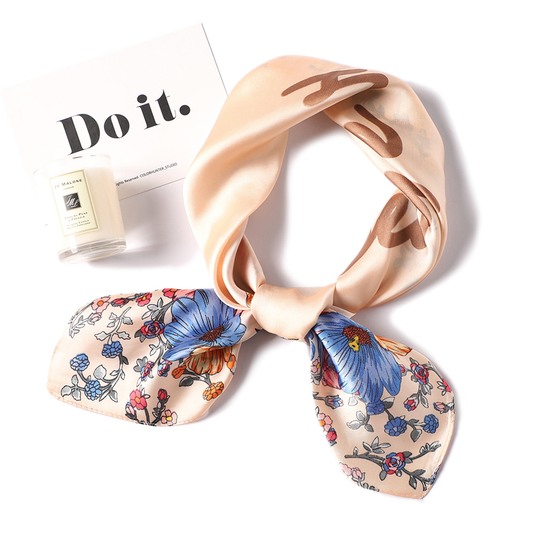 New Square Silk Scarf For Women Foulard Small Neck Scarfs Tie Office Female Neckerchief Lady Hair Wrap Band Shawl