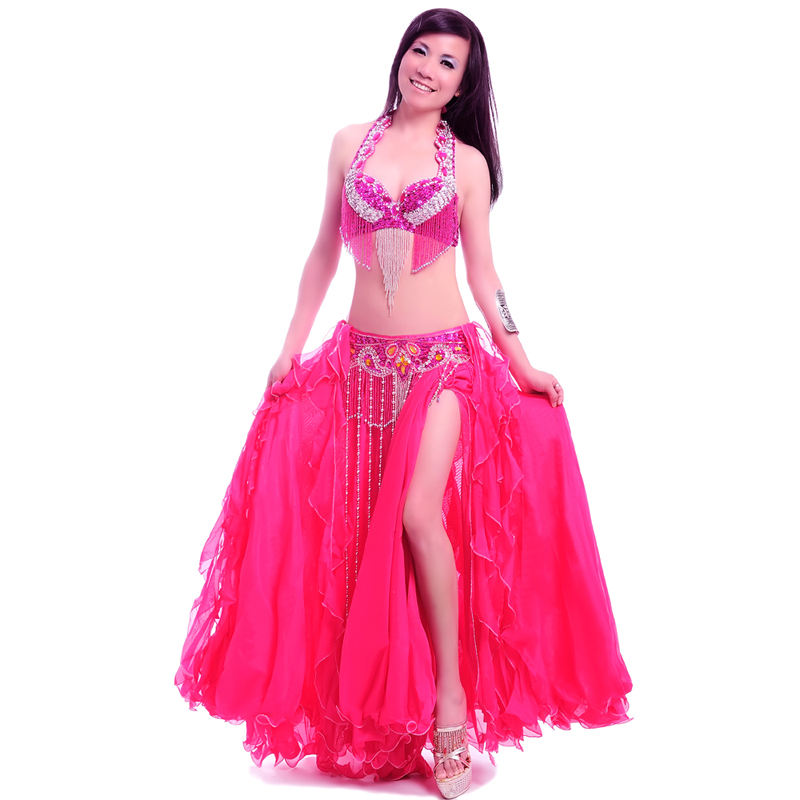Women Belly Dance Costume Professional Performance Bellydance Outfit Bras Belt Skirt Set Oriental Beads Costumes Dancewear