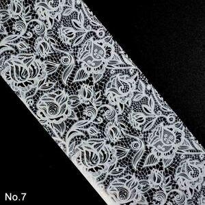 Image 4 - Dantel tırnak folyo tırnak sanat çiçek transferi folyo kağıt tırnak çıkartmalar beyaz dantel çivi malzemeleri ZJT072