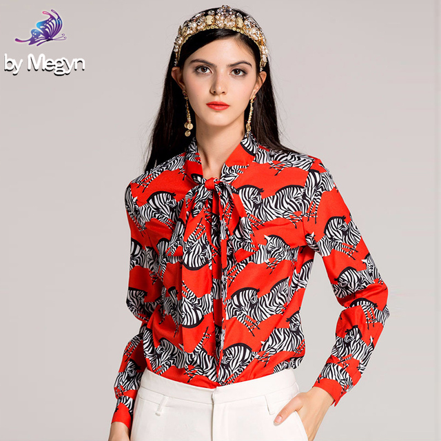 a522096c5b Women Fashion Runway Designer Blouse 2018 New Long Sleeve Bow Collar Zebra  Floral Printed Red Shirt Tops High Quality