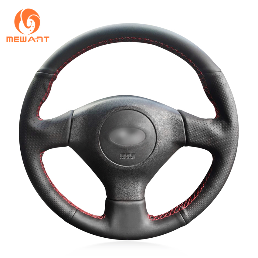MEWANT Black Genuine Leather Hand Sew Wrap Car Steering Wheel Cover for Subaru Forester 2005 2008