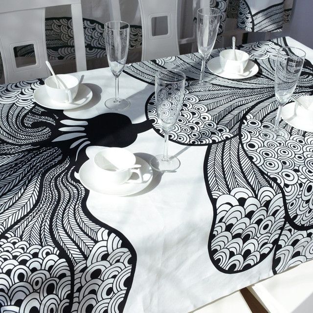 Free Shipping Elegant Bohemian Dining Table Cloth Fashion Black And White  Kitchen Table Cloths Designer Modern