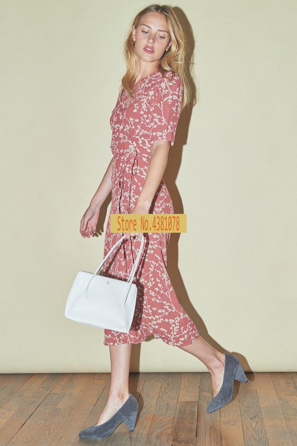 Französisch Wrap Midi alt rosa hortensien gedruckt hohe taille gürtel wrap midi kleid-in Kleider aus Damenbekleidung bei  Gruppe 1
