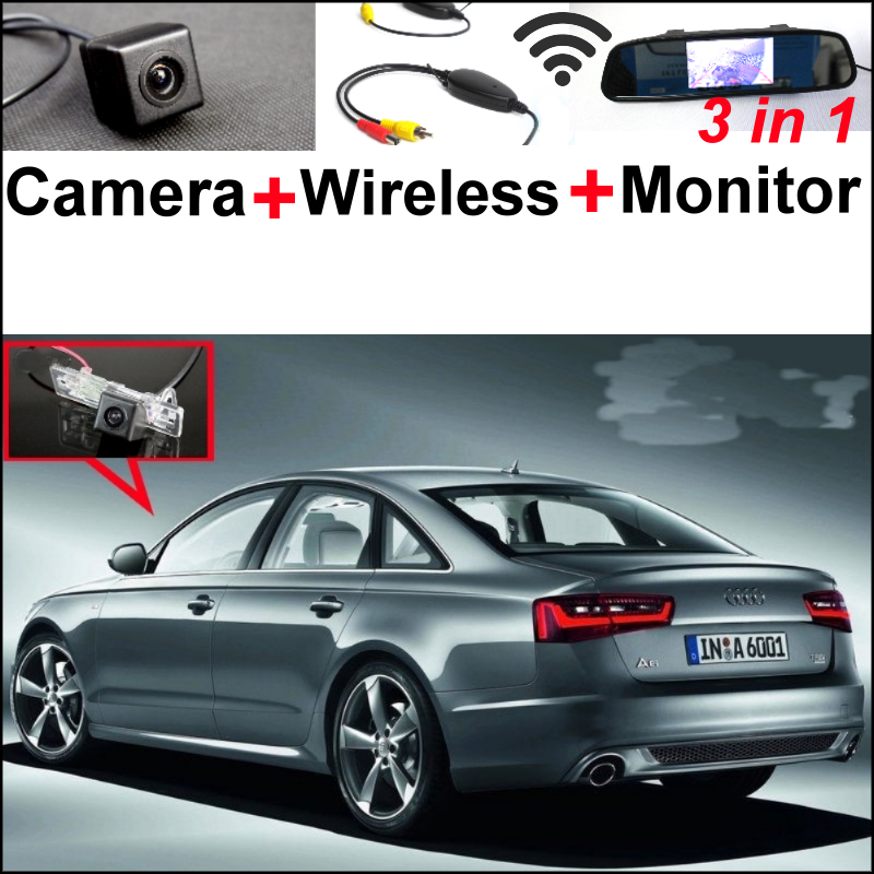 3 in 1 Special WiFi Camera + Wireless Receiver + Mirror Monitor Easy DIY Rear View Parking System For Audi A6 / S6  2010~2014 wireless pager system 433 92mhz wireless restaurant table buzzer with monitor and watch receiver 3 display 42 call button