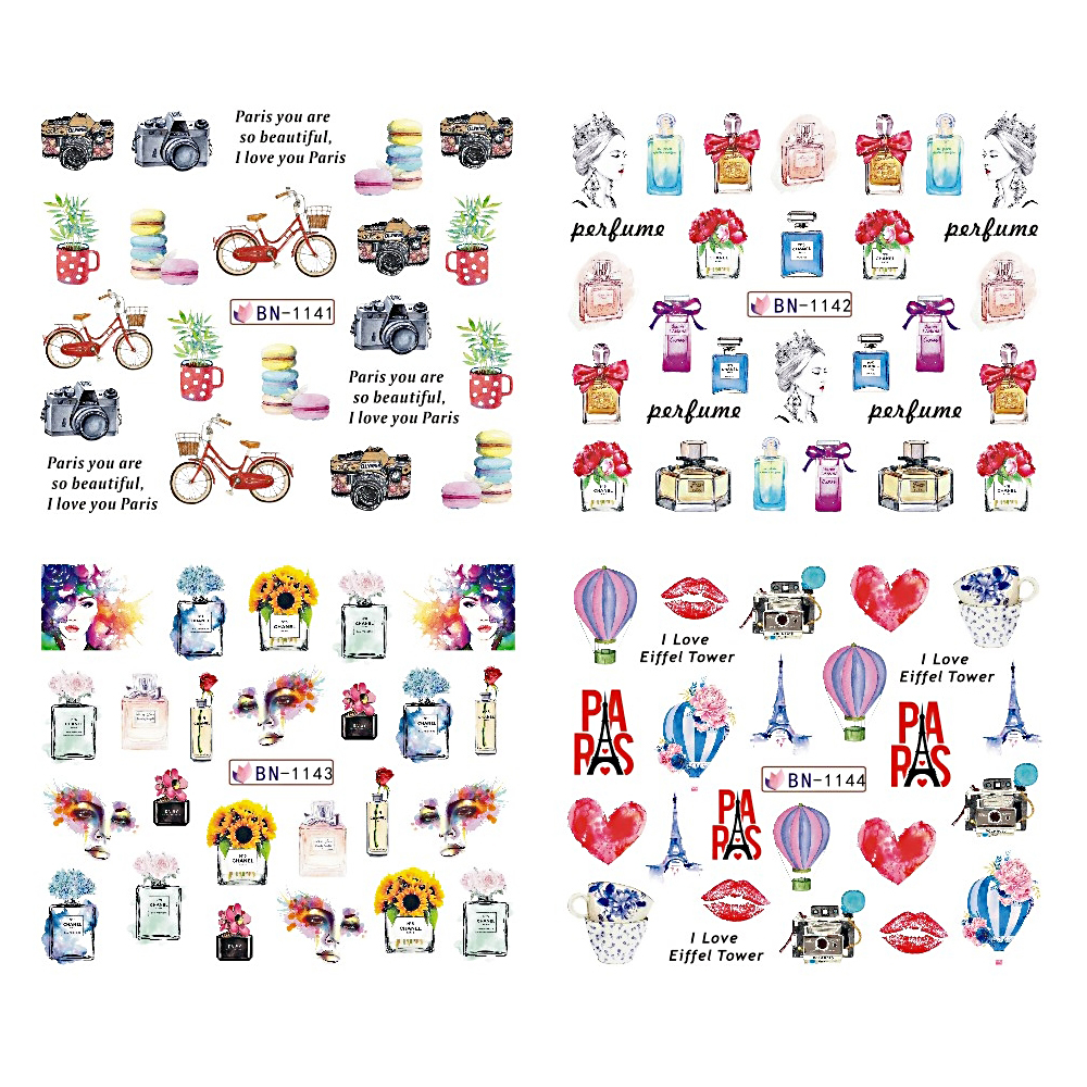 Image 2 - 12pcs Nail Art Stickers Romantic City Flowers Wraps Perfume Lovers Balloon Rose Beauty Girls Decals Nails Decor BEBN1141 1152-in Stickers & Decals from Beauty & Health
