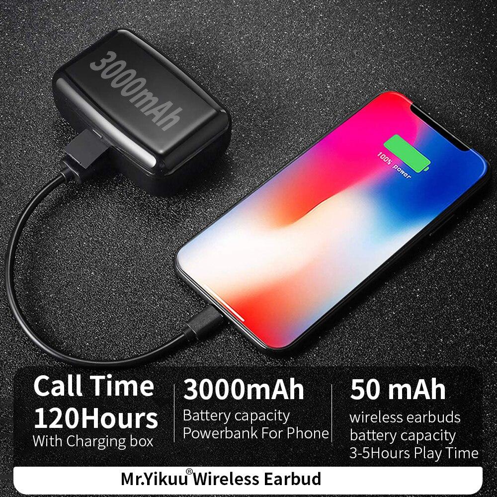 Bluetooth 5.0 Headphones IPX7 Deep Waterproof Wireless Headphones Earbuds with 3000mAh Power Bank charge Box For Most Smartphone-in Bluetooth Earphones & Headphones from Consumer Electronics    2