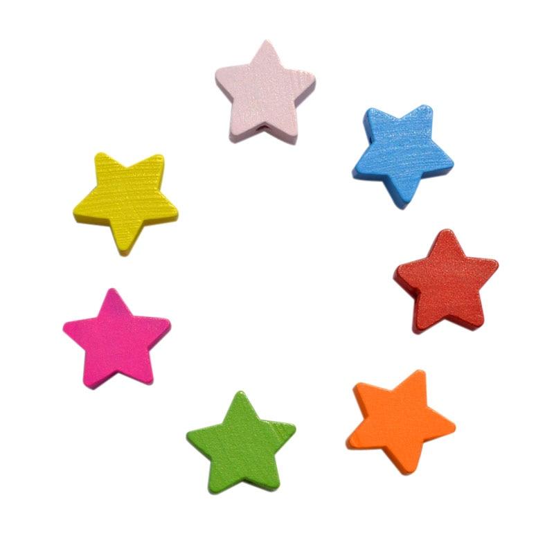 100 Teile/los Diy Schmuck Zubehör Mix Farbe Holz Perlen 15 Mm Cartoon Pentagramm Kinder Handwerk Abteilung Mit Einem LangjäHrigen Ruf