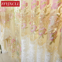 Luxury Home Europe Design Floral Tulle Curtains For Living Room Bedroom Embroidered Blackout Curtains Window Treatment Drapes