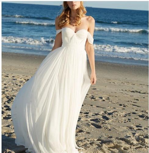 Beach Wedding Dress 2017 New Off Shoulder Short Sleeve Sexy Backless Bridal Dresses vestido de casamento robe de mariage