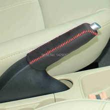 Skrzynka dla Ford FIESTA hamulec ręczny pokrywa prawdziwej skóry dekoracji wnętrz DIY car styling Auto dostaw tanie tanio Uchwyty hamulca ręcznego 11cm Anti-slip Iso9001 Genuine leather 15cm Black 0 1kg