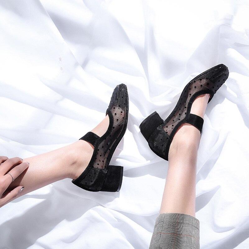gris Ballet Janes Mary Noir Populaire Chaussures Pompes Vintage Lolita À De Pois Femmes Maille Noir 2018 Conception Fille qn7AT8U