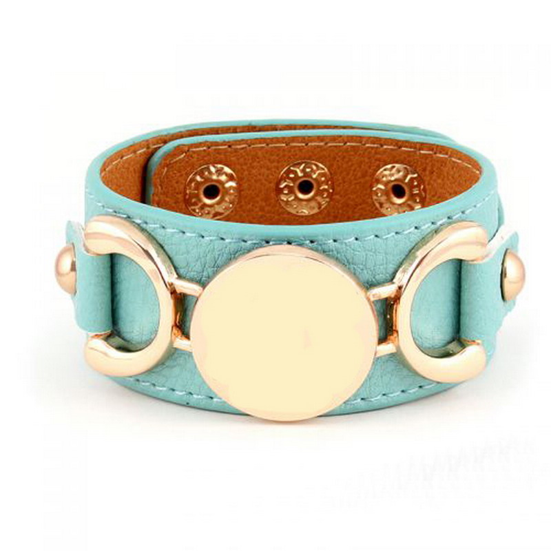 Rainbery 2018 Hot Ing Monogram Pu Leather Cuff Bracelet Pulseras 3 Row Gold Color Multicolor For Women Men In Bracelets From
