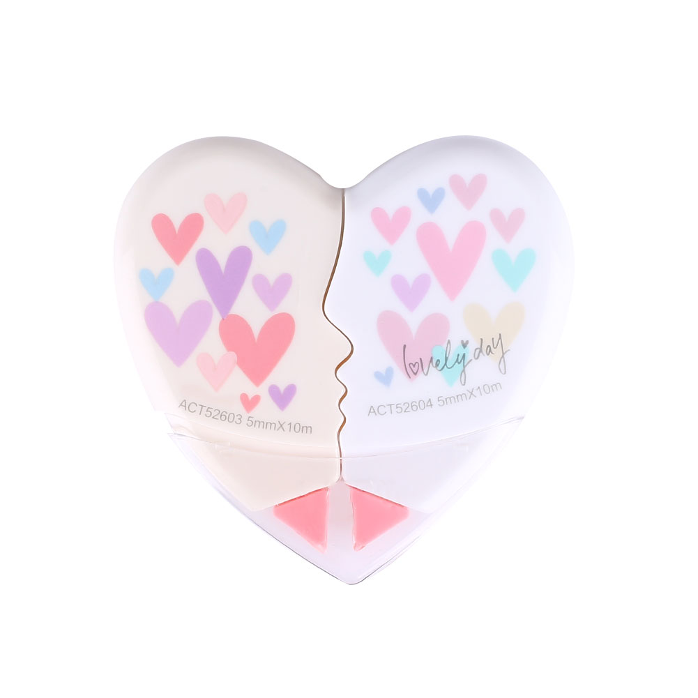 2Pcs Love Heart Shaped Correction Tape Office School Supplies Student Novelty