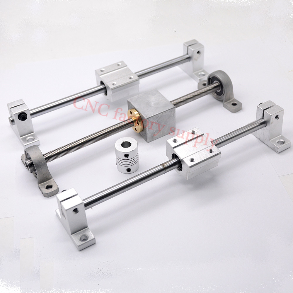 3D Printer Guide Rail Sets T8 Lead Screw Length 300mm Lead 8MM + Linear Shaft 8*300mm + KP08 SK8 SC8U + Nut housing + Coupling 500 8mm t8 linear guide rails shaft support stainless steel screw lead nut bearing blocks linear slide block set mayitr