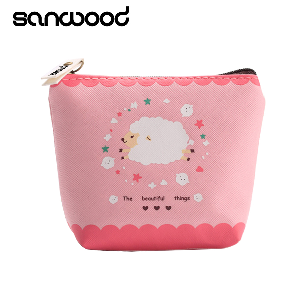 2015 Girl Kid Coin Purse Animal Baby Sheep Zipper Case PU Leather Wallet Bag Pouch 6O2I кошелек leather pu 2015 d108 wallet