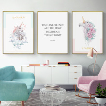 Cute Children Poster Rainbow Unicorn Canvas Wall Art Print Painting Modern Decoration Picture Nordic Kids Bedroom Decor Gift