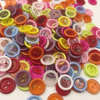 100 Uds 12MM redondo 2 botones de resina con agujeros Flatback DIY Crafts ropa de niños vestimenta accesorios de costura PT164