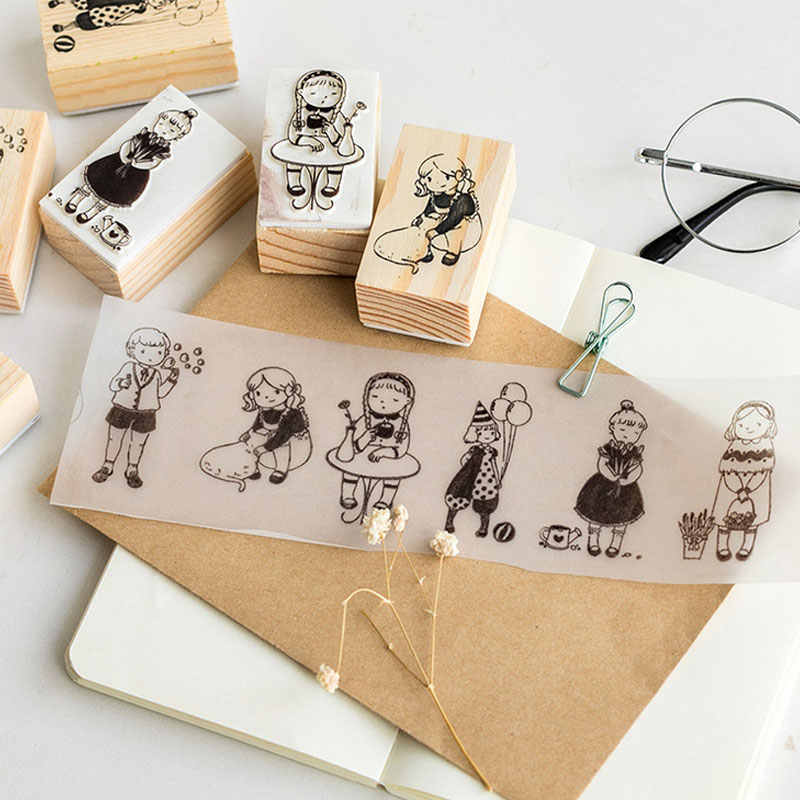 Zliger 10 Pcs Wooden Rubber Stamp Set Printing Stamps Kids Personalised Rubber Stamps Crafts for Diy Diary Scrapbook Stamp