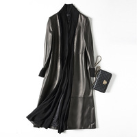 Extra long 113 cm natural sheepskin leather coat women stand collar real leather jacket trim with cotton fabric