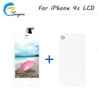 1 unids AAA calidad para iPhone4s LCD pantalla táctil con reemplazo de la Asamblea del digitizador + cubierta trasera blanca