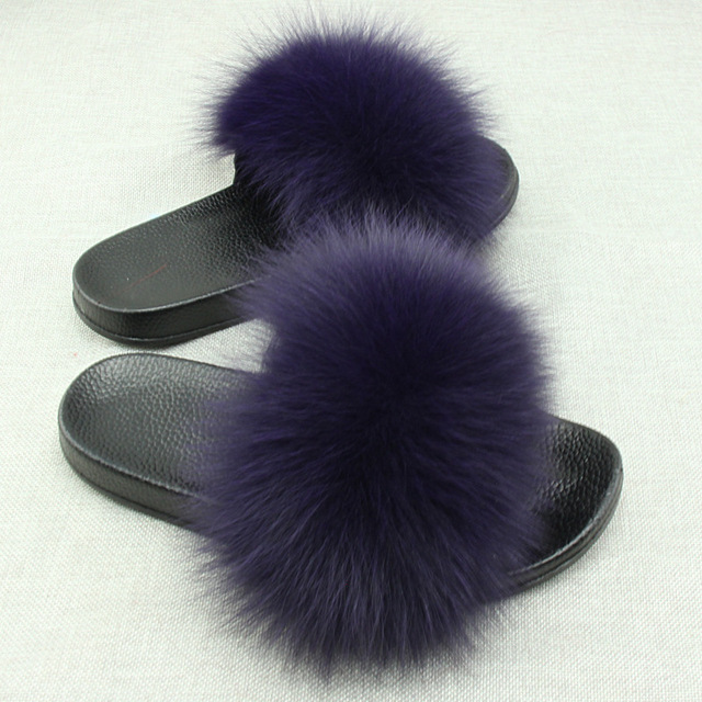 d4890190a244 Yu Kube Real Fox Fur Slides Plus Size Summer 2019 Open Toe Fluffy Real Hair  Slippers Casual Black Slip On Flip Flops Furry Shoes