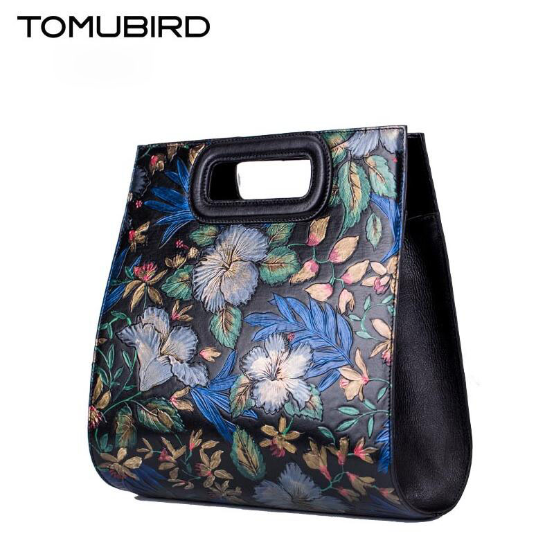 TOMUBIRD new Superior cowhide leather Embossing famous brand women bag fashion genuine leather handbags shoulder bag tomubird 2017 new genuine leather women bag fashion painted embossing quality leather art bag women leather handbag shoulder bag