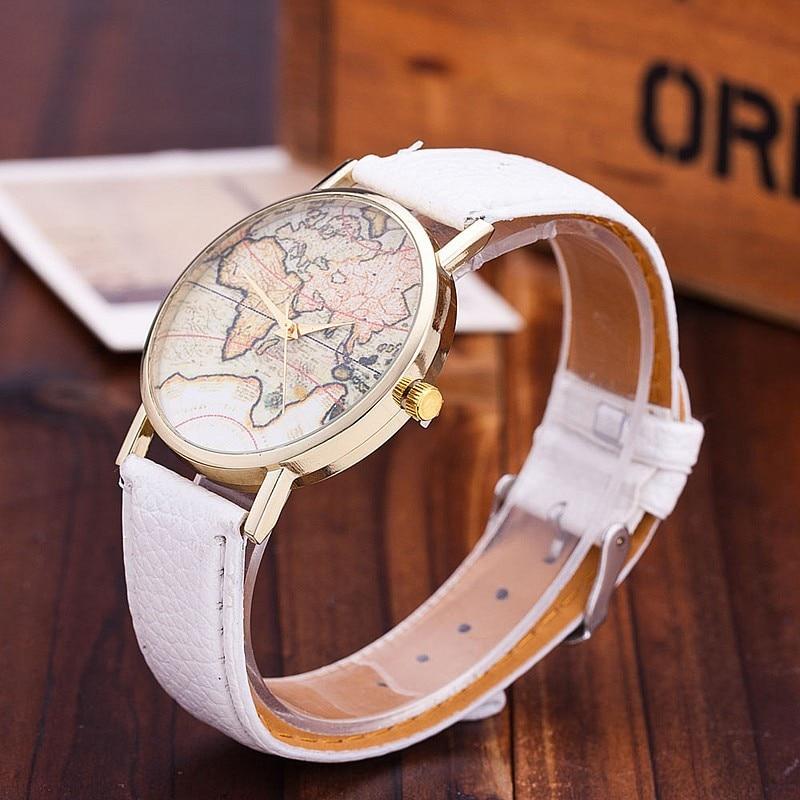 US $2.49 40% OFF|Vansvar Brand Fashion World Map Watch Women Casual Leather  Strap Quartz Watches Montre Femme Relogio Feminino 1133-in Women\'s Watches  ...