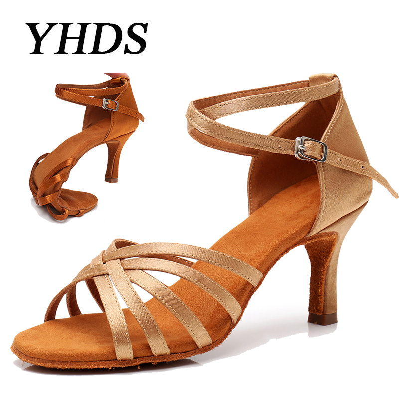 YHDS Selling Ballroom New Professional Latin Dance Shoes for Women/Girls/Ladies Tango Salsa High Heeled Indoor Dancing Satin/PU