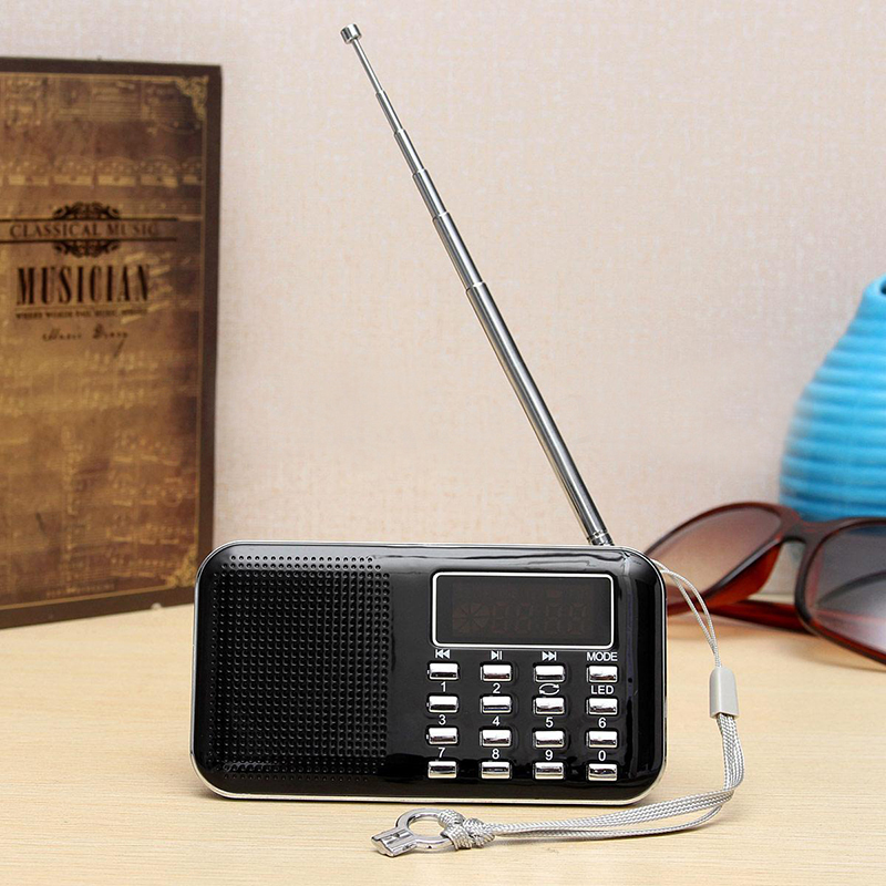 Mini L-218 Numérique LCD MP3 Radio Haut-Parleur Lecteur Soutien TF Carte USB avec Fonction Lampe de Poche LED Portable Radio FM Haut-Parleur