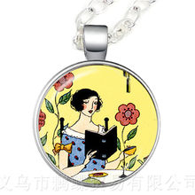 Bookworm Necklace Library Jewelry Glass Cabochon Book Reading Books Photo Charm Pendant Sweater chain For Librarian Gifts(China)