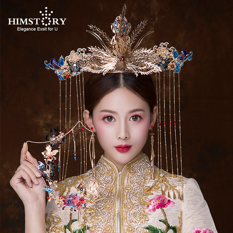 HIMSTORY Retro Chinese Gold Phoenix Peacock Coronet Hair Accessories Classical Chinese  Butterfly Long TAssel Queen Hair JewelryHIMSTORY Retro Chinese Gold Phoenix Peacock Coronet Hair Accessories Classical Chinese  Butterfly Long TAssel Queen Hair Jewelry