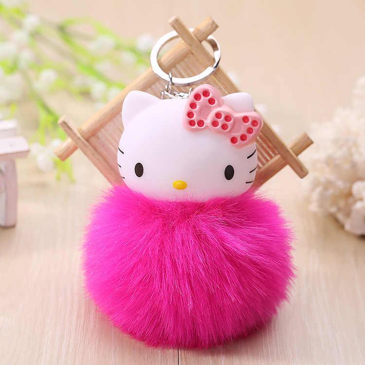 a7671d14e Cartoon Porte Clef Cat Hello Kitty Keychain Pompom Dolls Key Chain Woman Bag  Car Charm Pendant
