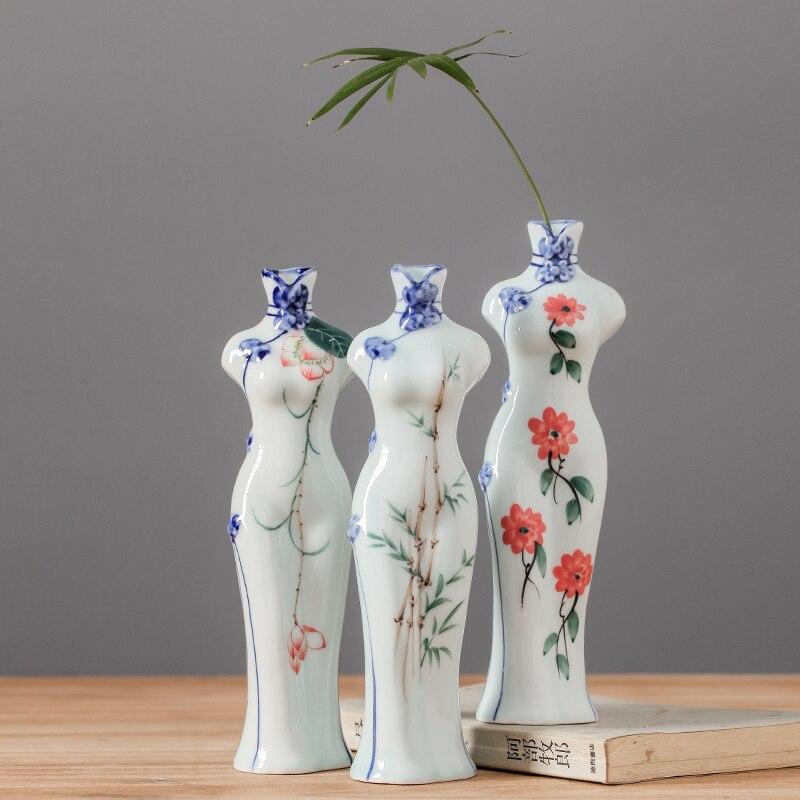 Керамика творческий ручная роспись стиль платья Ваза Цветочная композиция домашнего интерьера чай Zen столовая украшения
