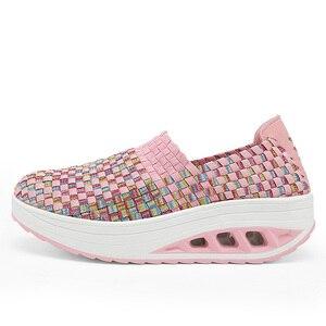 Image 3 - STQ 2020 Autumn Women Casual Shoes Women Wove Platform Shoes Ladies Fashion Slip On Sneakers Shoes Breathable Walking Shoes 1668