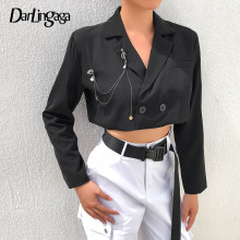 Darlingaga 2019 Musim Gugur Fashion Cropped Blazer Wanita Mantel Double Breasted Wanita Jaket Blazer Cardigan Hitam Bros Pakaian Luar(China)