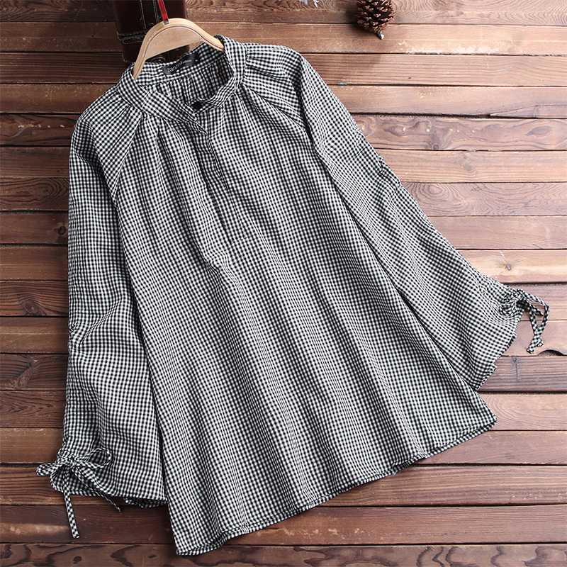 2019 ZANZEA Women Vintage Button Down Blouse Check Plaid Shirt Casual Cotton Linen Pleated Blusas Tunic Tops Blusa Feminina 5XL in Blouses amp Shirts from Women 39 s Clothing