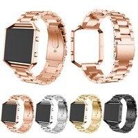 Luxury Stainless Steel Watch Band Strap Metal Frame 2 In 1 For Fitbit Blaze Wristwatch Bracelet