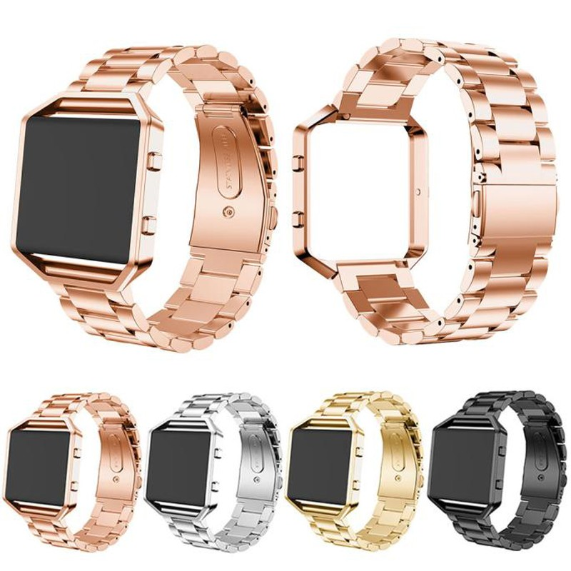 luxury stainless steel watch band strap +metal frame 2 in 1 for fitbit blaze wristwatch bracelet gold silver black rose gold watchbands for garmin fenix3 smart watch black silver gold bracelet stainless steel metal watch band strap 26mm