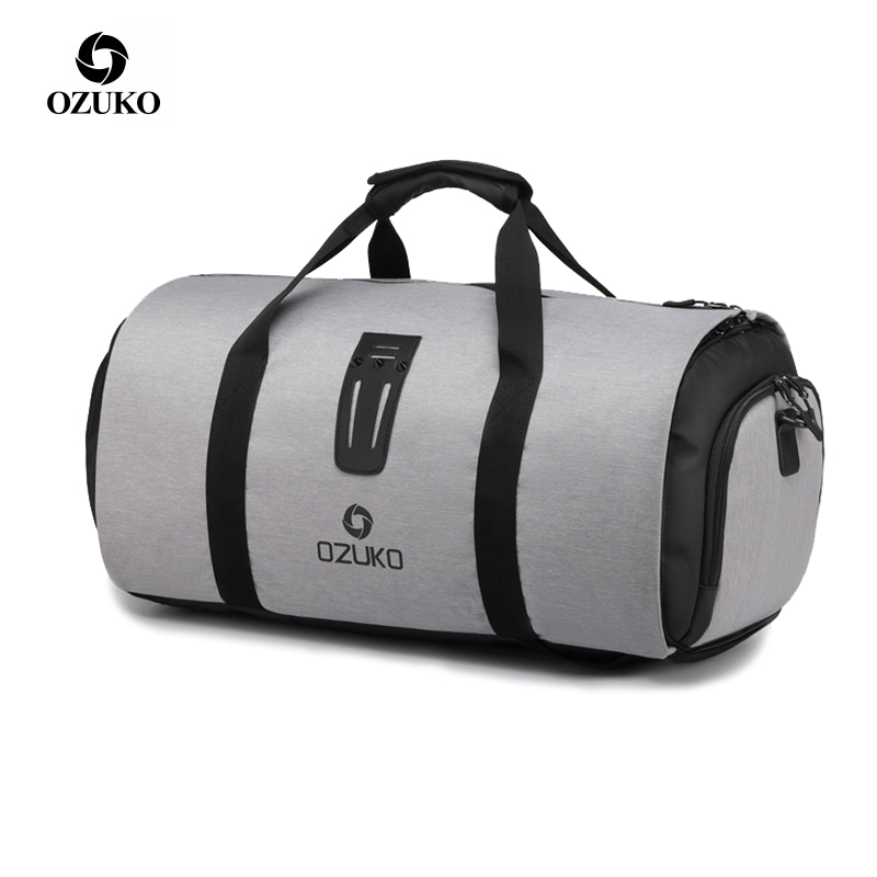 OZUKO Multifunction Large Capacity Men Travel Bag Waterproof Duffle Bag for Trip Suit Storage Hand Luggage