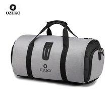 OZUKO İşlevli büyük kapasiteli erkek seyahat çantası su geçirmez silindir çanta seyahat için takım saklama el bagaj çantaları ayakkabı kılıfı ile