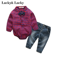 New Year Baby Born Gentleman Baby Boy Clothes Long Sleeve Jumpsuit With Bow Jeans Hot Sale