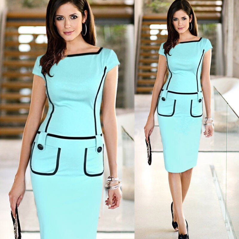 New Women Dress Summer Women Work Wear High Quality Knee Length Pocket Casual Brief Bodycon Pencil Dress Career Gown