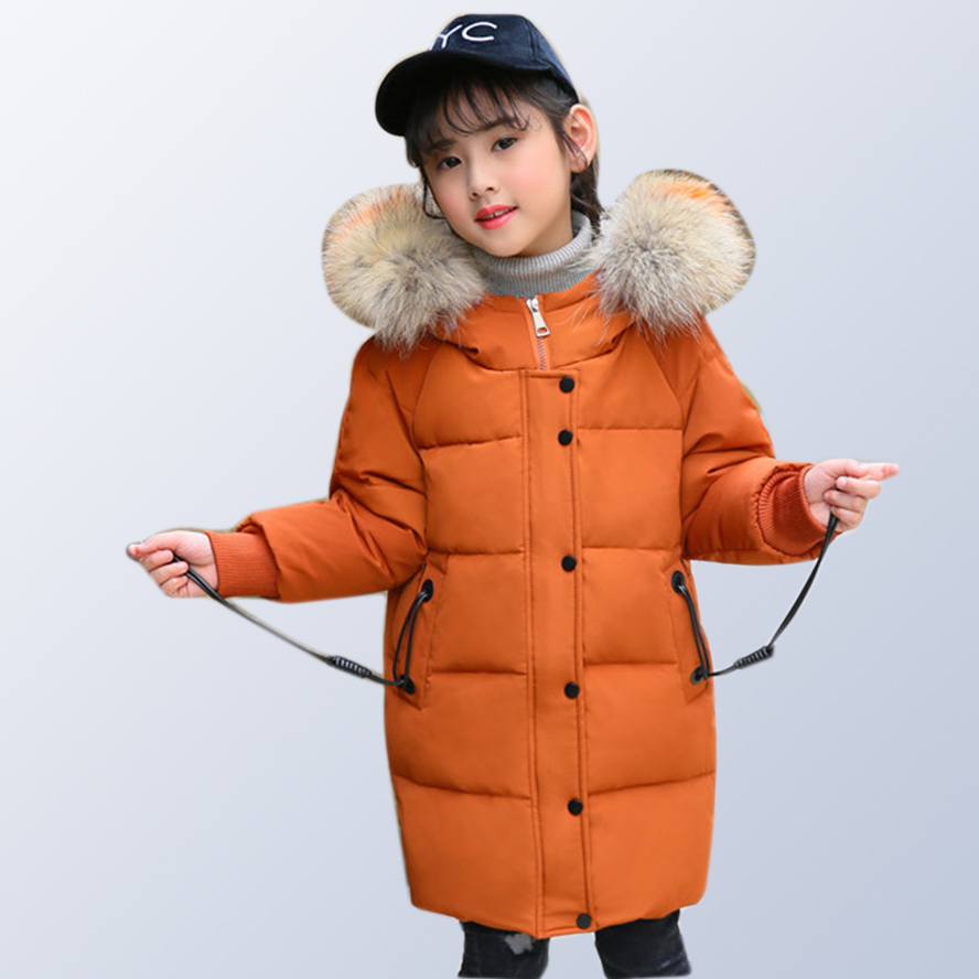 Girls Winter Down Jackets with Fur Kids Winter Jacket Coat 2018 Baby Girl Clothes Warm Winter Coat for Kids 6 8 10 12 Years Old цена
