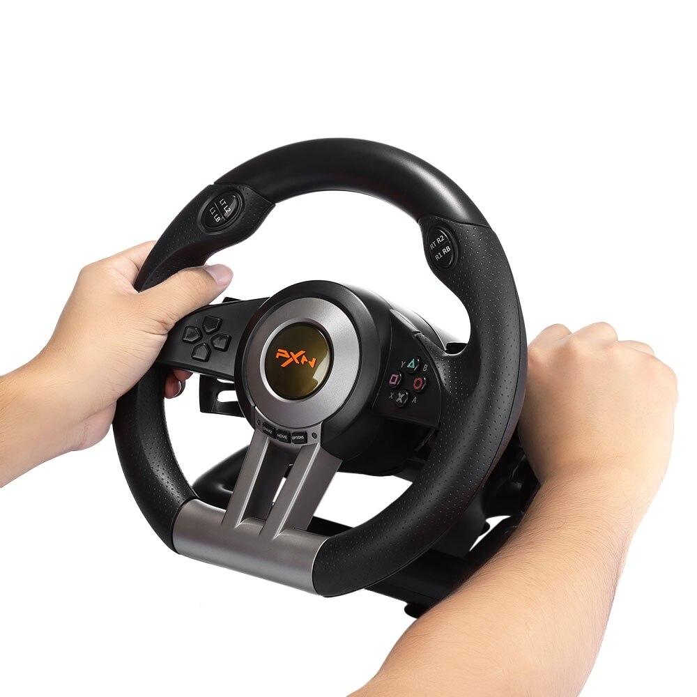 PXN V3II almohadilla de juego de carreras 180 grados volante vibración Joysticks con Pedal plegable para ordenador PS3 PS4 Xbox One todo en uno - 4