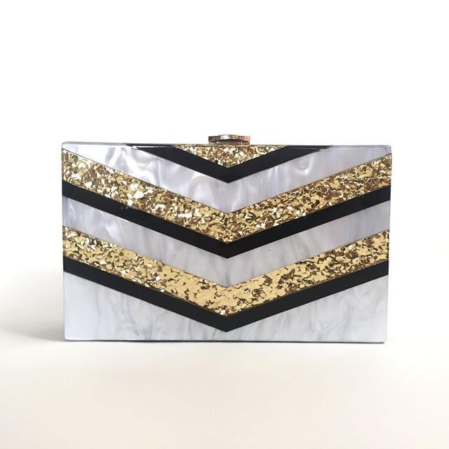 2f5572c4d2 Women Designer Acrylic Clutch Box Vintage Evening Party Bag New Wedding  Bridesmaid Handbag Vintage Gold Striped Messenger Bag
