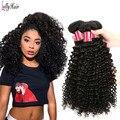 Baratos Feixes de Cabelo Encaracolado Malaio 8A 3 pçs/lote Malásia Virgem Cabelo Kinky Curly Virgem Cabelo Curly Weave Extensões de Cabelo Humano