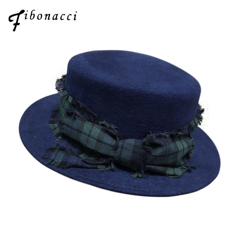 Fibonacci 2018 New Plaid Belt Women Fedora Hat Wool Felt Flat Cap Ladies Autumn Winter Topper Hat