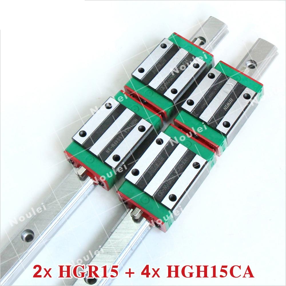 лучшая цена CNC HIWIN 15mm Linear Guide 2pcs HGR15 Rails and 4pcs HGH15CA Carriage Slide Block HGH15 400mm 500mm 600mm 800mm 1000mm